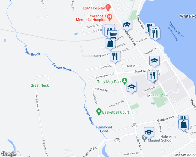 map of restaurants, bars, coffee shops, grocery stores, and more near in New London