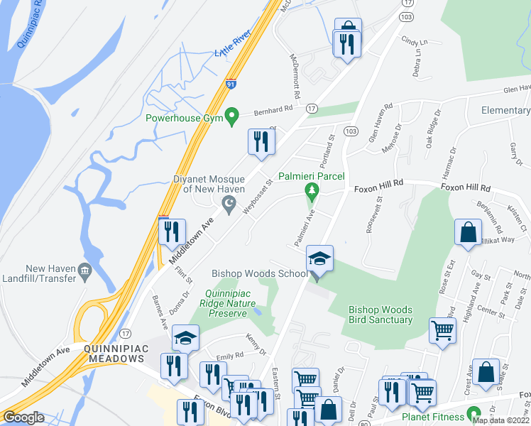 map of restaurants, bars, coffee shops, grocery stores, and more near 2-98 Mountain Ridge Terrace in New Haven