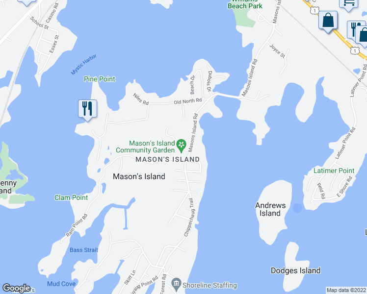 map of restaurants, bars, coffee shops, grocery stores, and more near 22 Cormorant Road in Mystic
