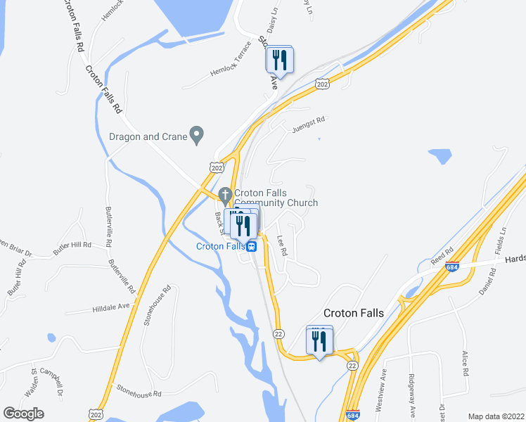 map of restaurants, bars, coffee shops, grocery stores, and more near 10 Maple Ave in Croton Falls
