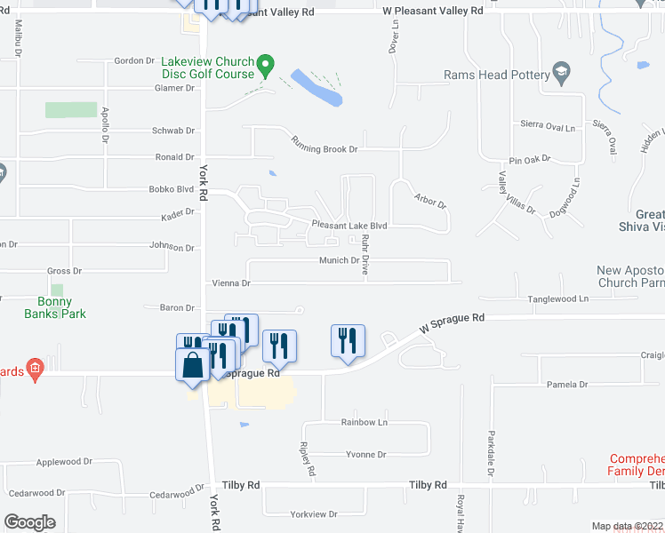 map of restaurants, bars, coffee shops, grocery stores, and more near 9807 Munich Dr in Parma