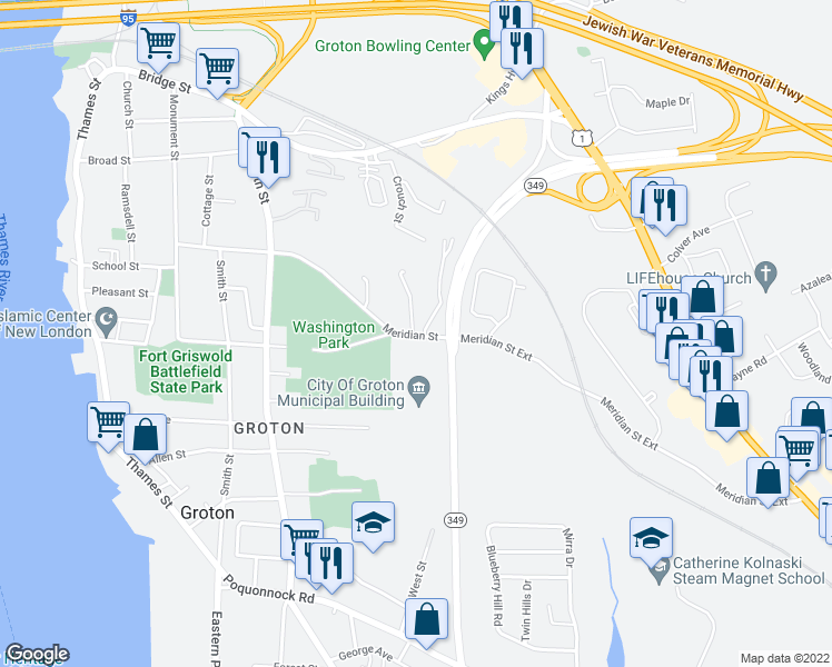 map of restaurants, bars, coffee shops, grocery stores, and more near 296 Meridian Street in Groton