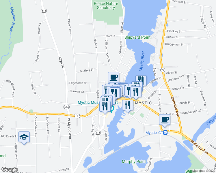 map of restaurants, bars, coffee shops, grocery stores, and more near 18 Bank Street in Groton