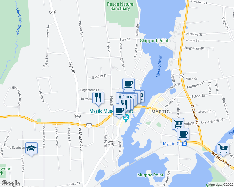 map of restaurants, bars, coffee shops, grocery stores, and more near 19 Bank Street in Mystic