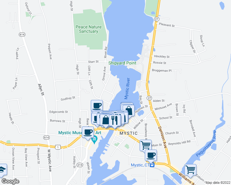 map of restaurants, bars, coffee shops, grocery stores, and more near 2 Eldridge Street in Groton