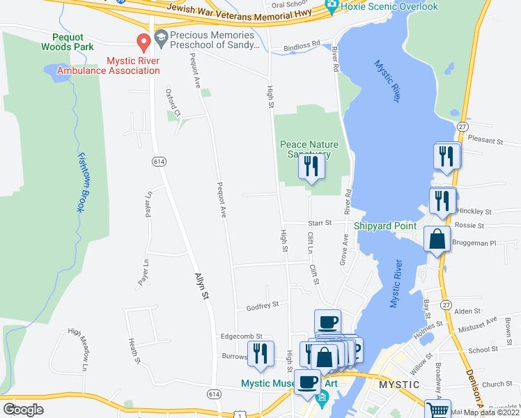 map of restaurants, bars, coffee shops, grocery stores, and more near 435 High Street in Mystic