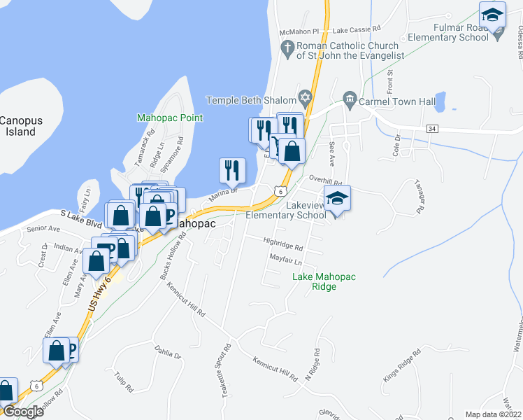 map of restaurants, bars, coffee shops, grocery stores, and more near Putnam Trailway in Mahopac
