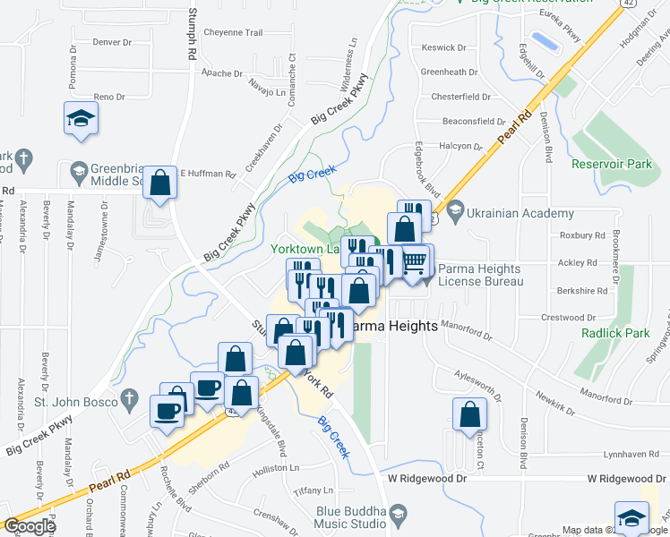map of restaurants, bars, coffee shops, grocery stores, and more near 6260 Pearl Rd in Parma Heights