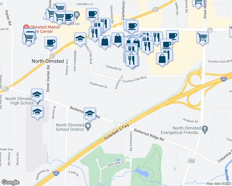 map of restaurants, bars, coffee shops, grocery stores, and more near 5272 Victoria Ln in North Olmsted