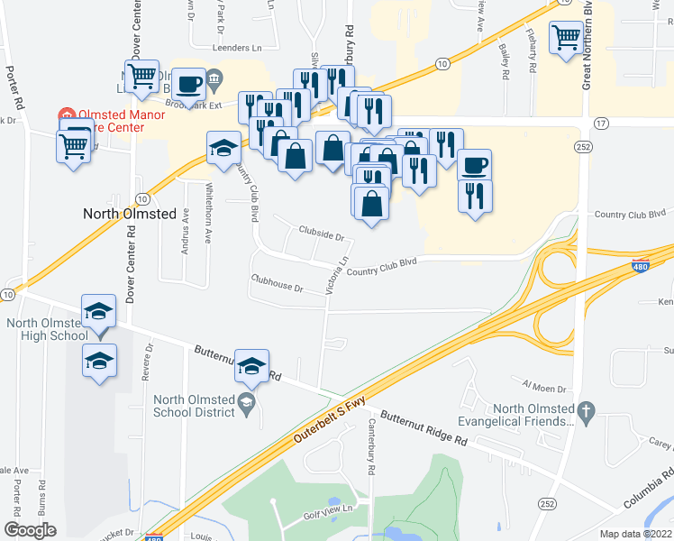 map of restaurants, bars, coffee shops, grocery stores, and more near Country Club Blvd & Victoria Ln in North Olmsted