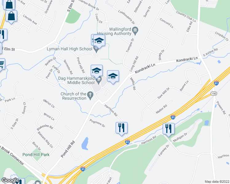 map of restaurants, bars, coffee shops, grocery stores, and more near 15 Kondracki Lane in Wallingford