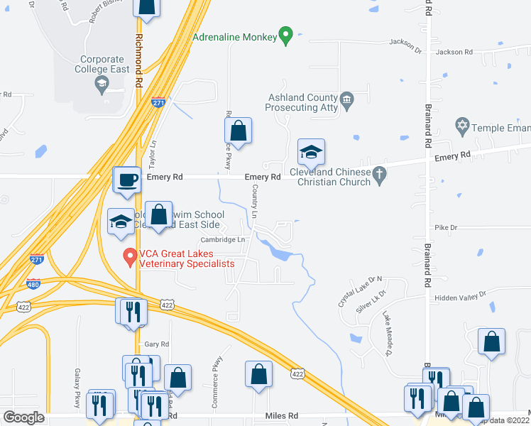 map of restaurants, bars, coffee shops, grocery stores, and more near 4671 Country Ln in Warrensville Heights