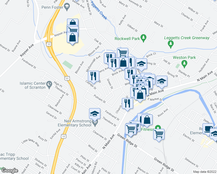 map of restaurants, bars, coffee shops, grocery stores, and more near 311 15 Green Street in Scranton