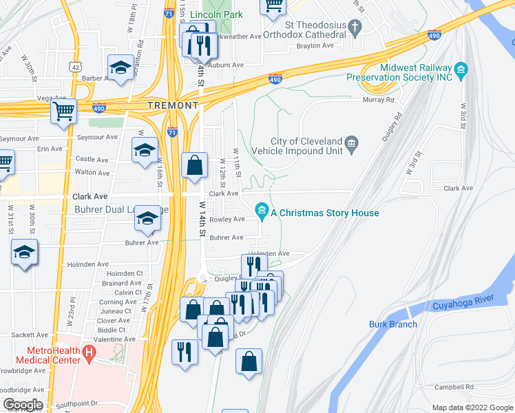 map of restaurants, bars, coffee shops, grocery stores, and more near 3139 West 11th Street in Cleveland