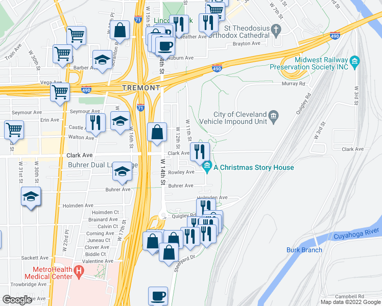 map of restaurants, bars, coffee shops, grocery stores, and more near Clark Ave & W 11th St in Cleveland