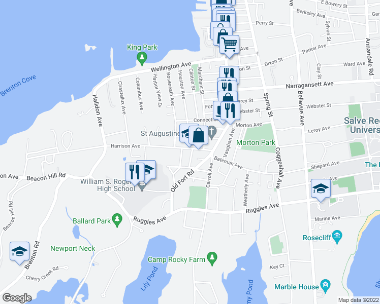 map of restaurants, bars, coffee shops, grocery stores, and more near 24 Harrison Ave in Newport