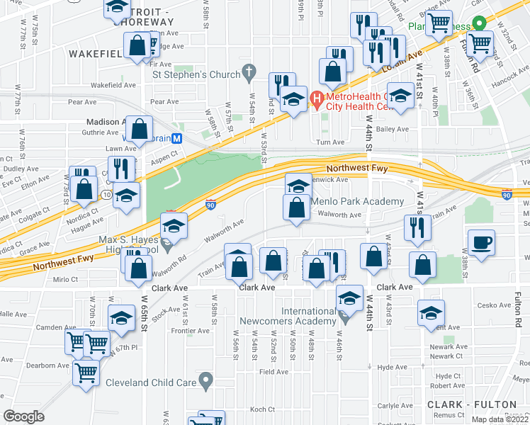 map of restaurants, bars, coffee shops, grocery stores, and more near W 53rd St in Cleveland