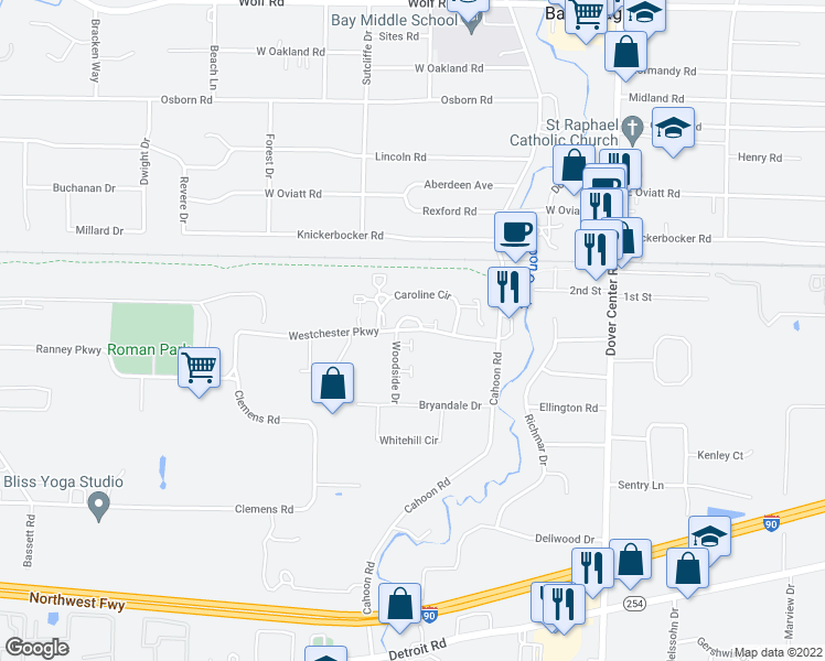 map of restaurants, bars, coffee shops, grocery stores, and more near 27631-27651 Westchester Parkway in Westlake