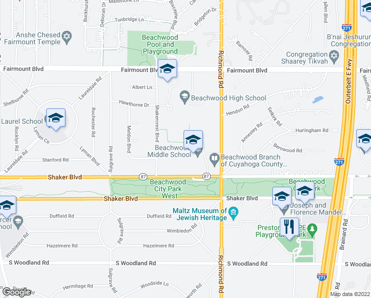 map of restaurants, bars, coffee shops, grocery stores, and more near 2860 Richmond Rd in Beachwood