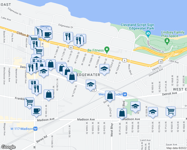 map of restaurants, bars, coffee shops, grocery stores, and more near West 105th Street in Cleveland