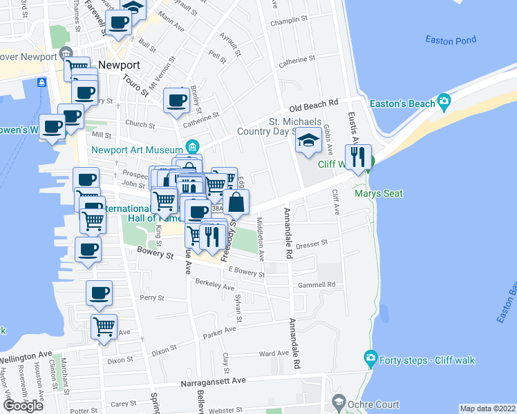map of restaurants, bars, coffee shops, grocery stores, and more near Memorial