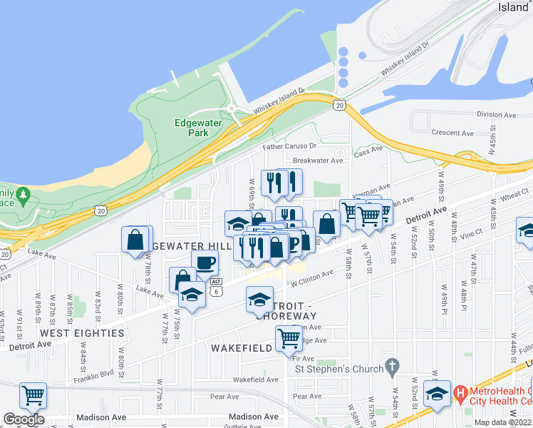map of restaurants, bars, coffee shops, grocery stores, and more near West 67th Street in Cleveland