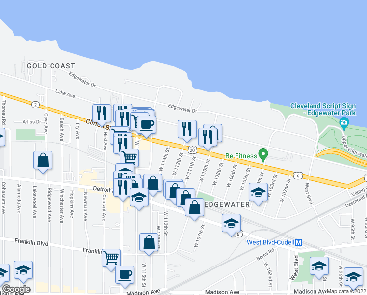 map of restaurants, bars, coffee shops, grocery stores, and more near Clifton Boulevard & West 112th Street in Cleveland