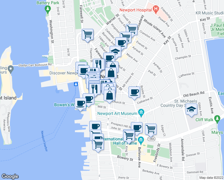 map of restaurants, bars, coffee shops, grocery stores, and more near 23 Division St in Newport