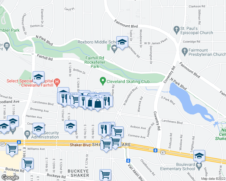 map of restaurants, bars, coffee shops, grocery stores, and more near 2500 Kemper Road in Shaker Heights