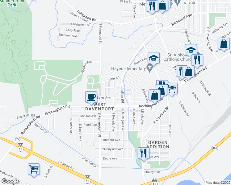 map of restaurants, bars, coffee shops, grocery stores, and more near Boies Avenue in Davenport