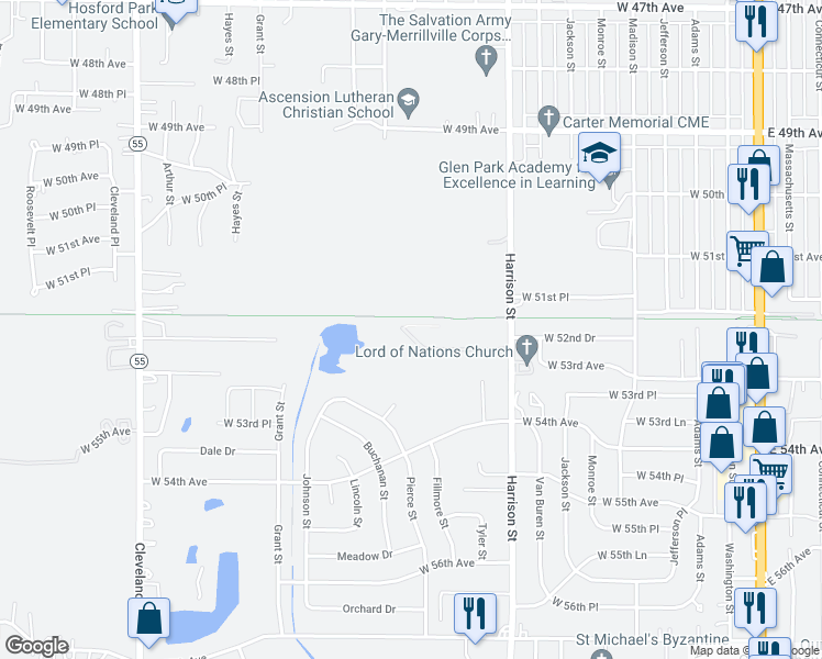 map of restaurants, bars, coffee shops, grocery stores, and more near 1101-1325 West 52nd Drive in Merrillville