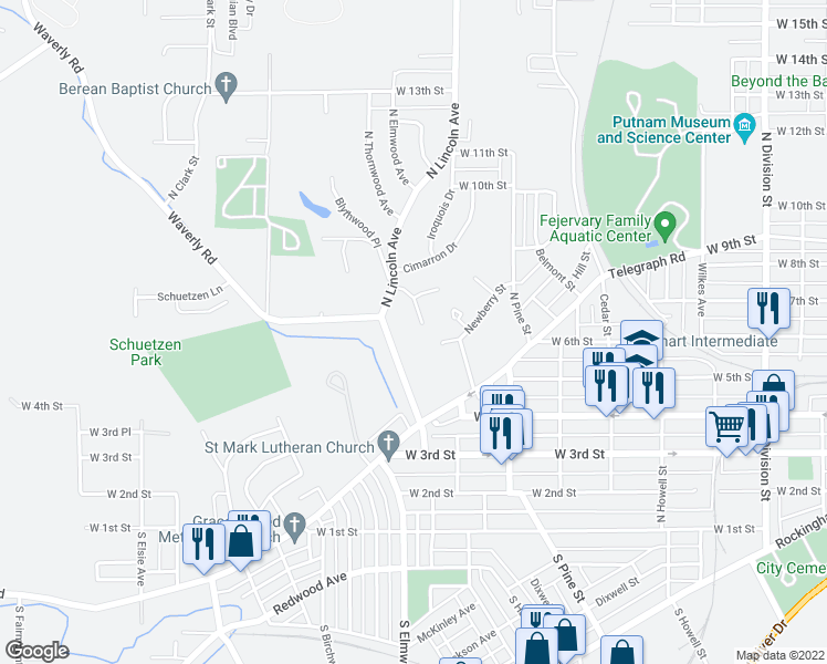 map of restaurants, bars, coffee shops, grocery stores, and more near 610 Cherokee Court in Davenport
