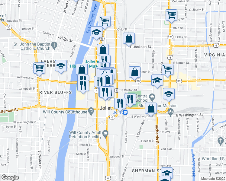map of restaurants, bars, coffee shops, grocery stores, and more near 150 North Scott Street in Joliet