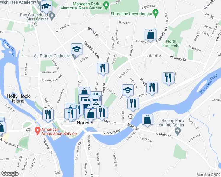 map of restaurants, bars, coffee shops, grocery stores, and more near 16 Oak Street in Norwich