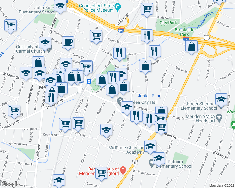 map of restaurants, bars, coffee shops, grocery stores, and more near Catlin St & Benjamin St in Meriden