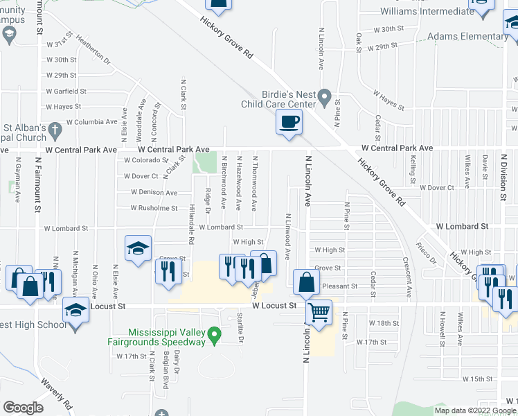 map of restaurants, bars, coffee shops, grocery stores, and more near 2229 North Thornwood Avenue in Da