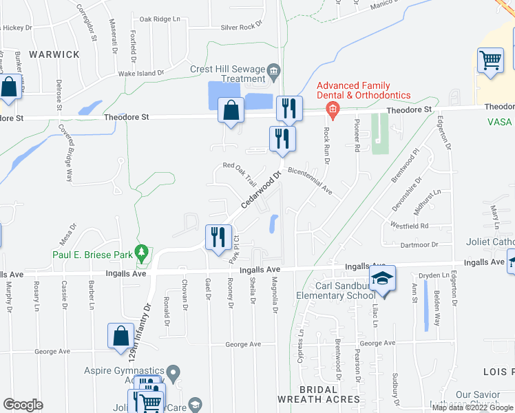 map of restaurants, bars, coffee shops, grocery stores, and more near 2433 Ingalls Avenue in Crest Hill