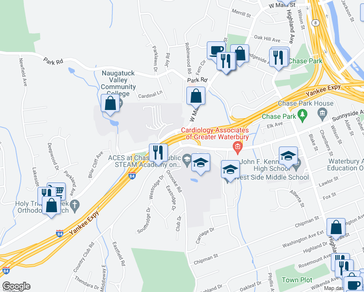 map of restaurants, bars, coffee shops, grocery stores, and more near 55-63 Country Club Road in Waterbury
