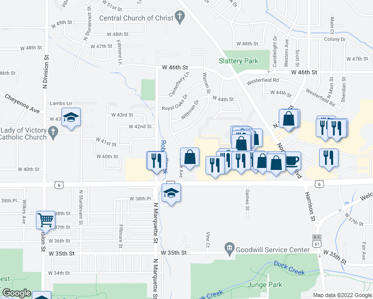map of restaurants, bars, coffee shops, grocery stores, and more near 4023 Lillie Court in Davenport
