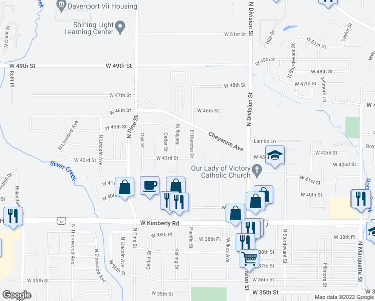 map of restaurants, bars, coffee shops, grocery stores, and more near 4316 El Rancho Drive in Davenport
