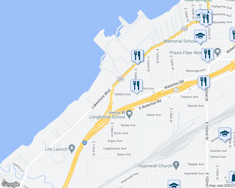 map of restaurants, bars, coffee shops, grocery stores, and more near 13616 Lake Shore Boulevard in Cleveland