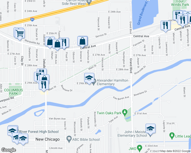 map of restaurants, bars, coffee shops, grocery stores, and more near 2850 Lake Street in Gary