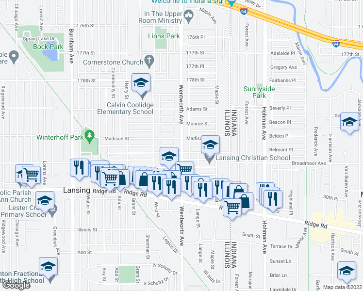 map of restaurants, bars, coffee shops, grocery stores, and more near 18003 Wentworth Ave in Lansing