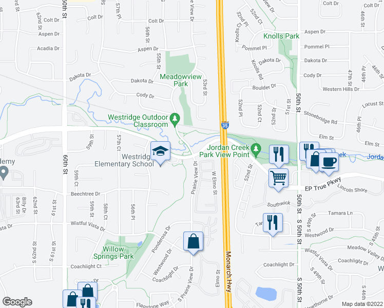 map of restaurants, bars, coffee shops, grocery stores, and more near 562-568 Prairie View Dr in West Des Moines