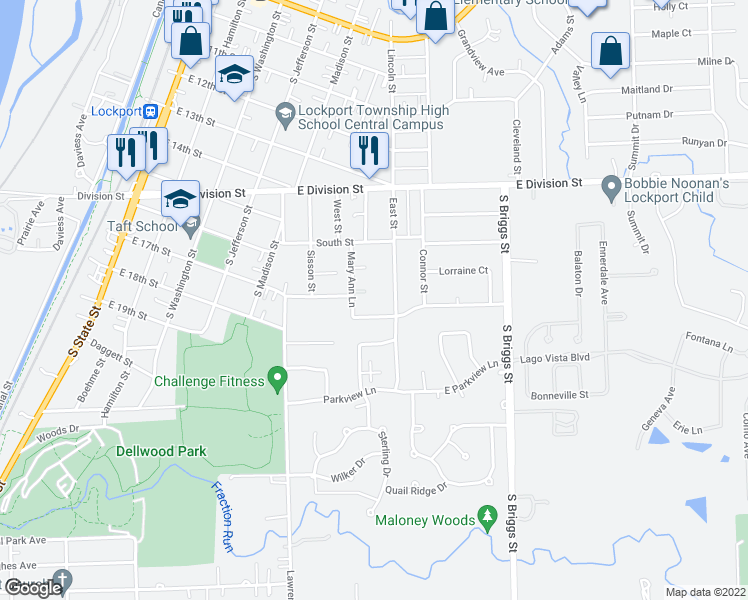 map of restaurants, bars, coffee shops, grocery stores, and more near 552-598 Rosanne Ln in Lockport