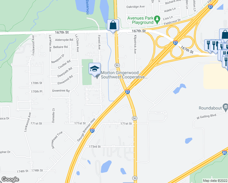 map of restaurants, bars, coffee shops, grocery stores, and more near 16934 South Cicero Avenue in Tinley Park