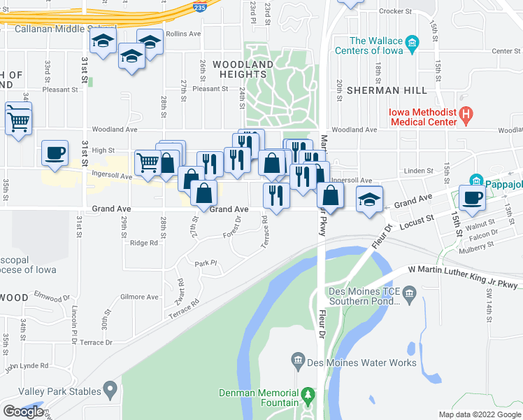 map of restaurants, bars, coffee shops, grocery stores, and more near 2213 Grand Ave in Des Moines