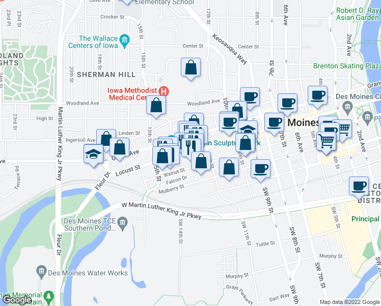 map of restaurants, bars, coffee shops, grocery stores, and more near 1223 Walnut Street in Des Moines