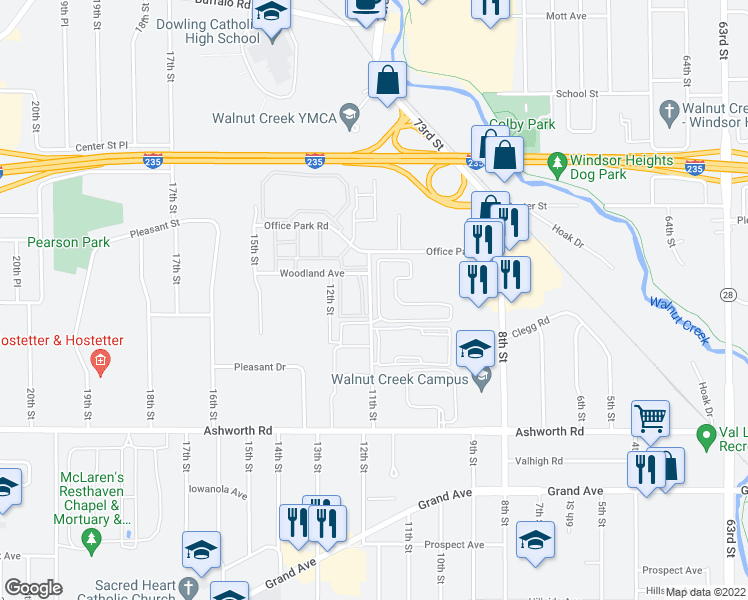 map of restaurants, bars, coffee shops, grocery stores, and more near 1225-1255 11th Street in West Des Moines