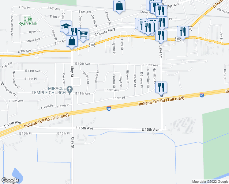 map of restaurants, bars, coffee shops, grocery stores, and more near 1314 Fayette Street in Gary